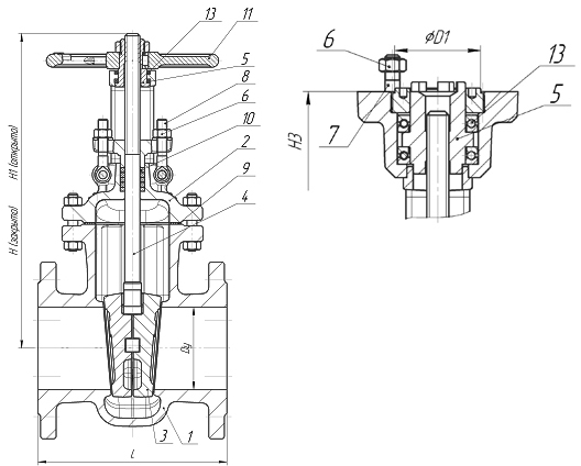 Задвижки стальные литые клиновые PN 2,5 МПа — 30с964нж