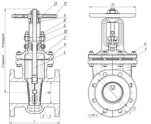 Задвижки стальные литые клиновые PN 2,5 МПа — 30лс64нж