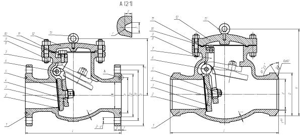 Клапан обратный поворотный (затвор обратный) PN 10 МПа — 19нж20нж
