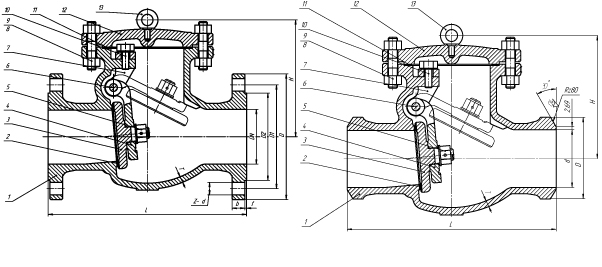Клапан обратный поворотный (затвор обратный) PN 4,0 МПа — 19нж53нж