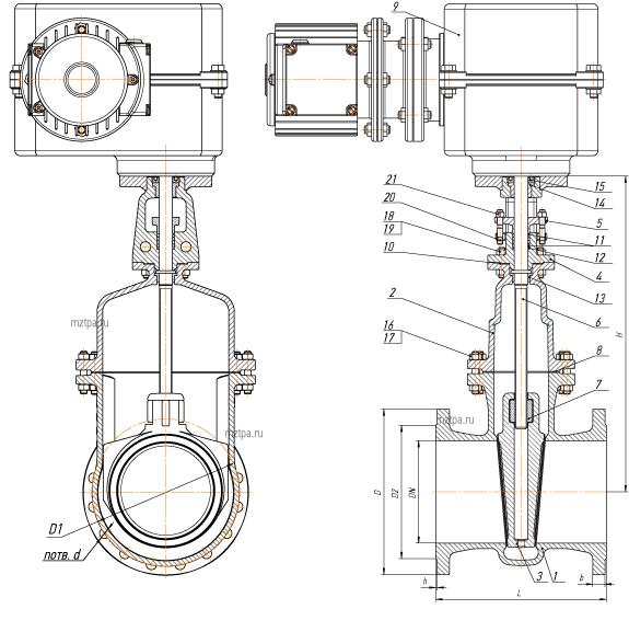 Задвижки стальные с невыдвижным шпинделем PN 2,5 МПа — 30лс927нж