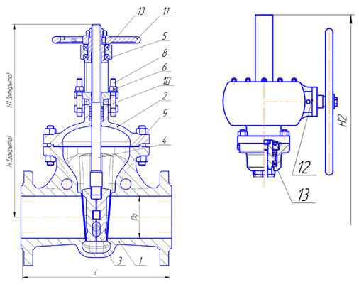Задвижки стальные литые клиновые PN 6,3 МПа — 30лс576нж