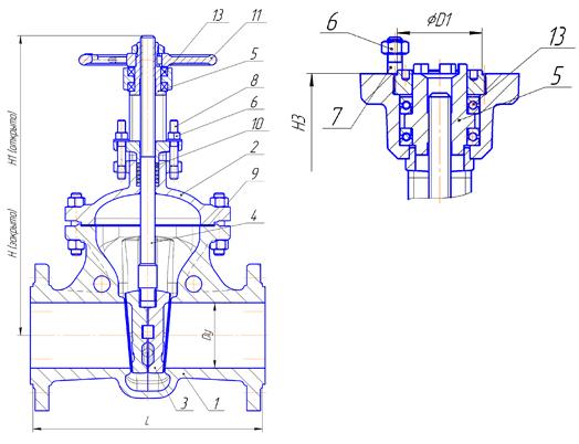 Задвижки стальные литые клиновые PN 6,3 МПа — 30нж976нж