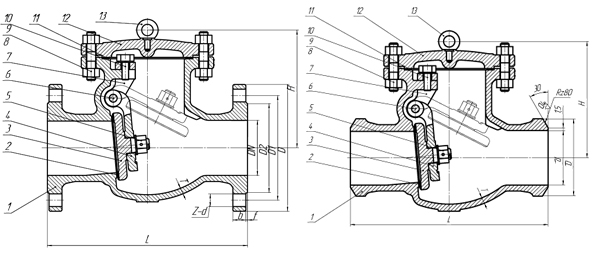 Клапан обратный поворотный (затвор обратный) PN 2,5 МПа — 19нж76нж