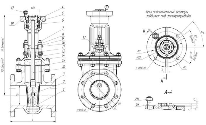 Задвижки стальные литые клиновые PN 16 МПа — 31с945нж